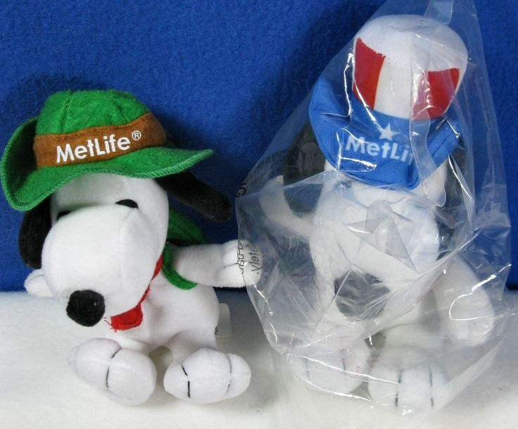 """MetLife Snoopy  7"""" Plush Red White Blue Hat & 6"""" Camping Stuffed Collectible Toy"""