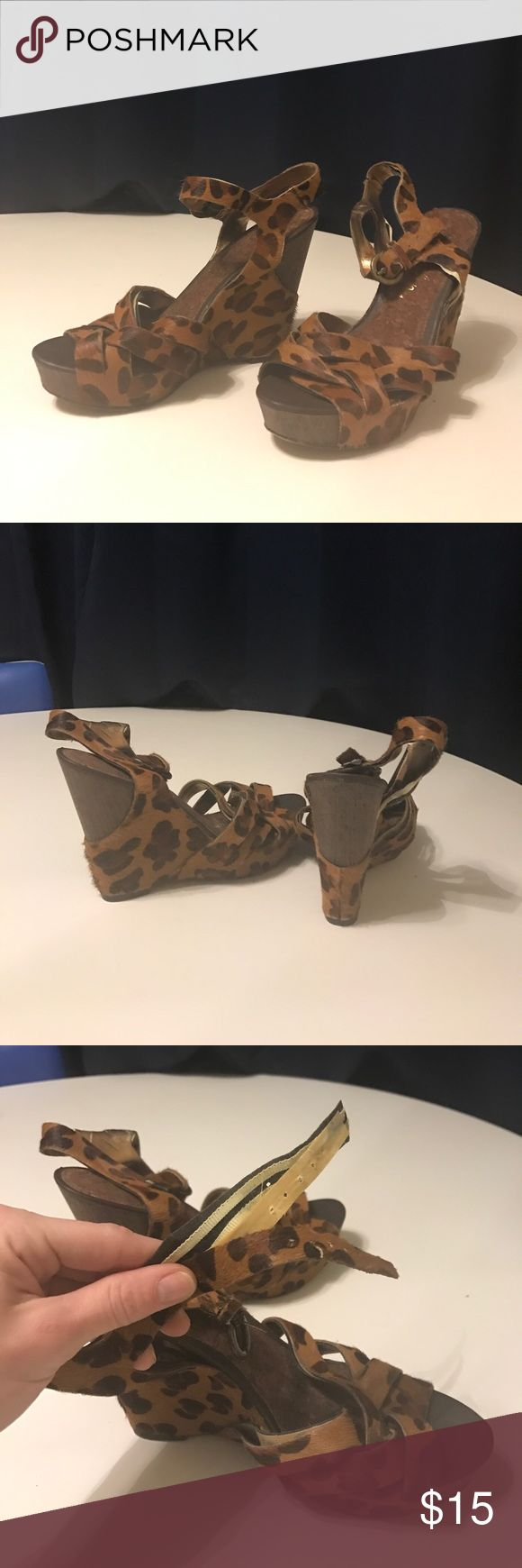 """Sam Edelman wedges Super cute 4.5"""" wedge. Leopard print. Faux fur. The fur strips are separating from the backing. Could be taken to shoe doctor! Sam Edelman Shoes Wedges"""