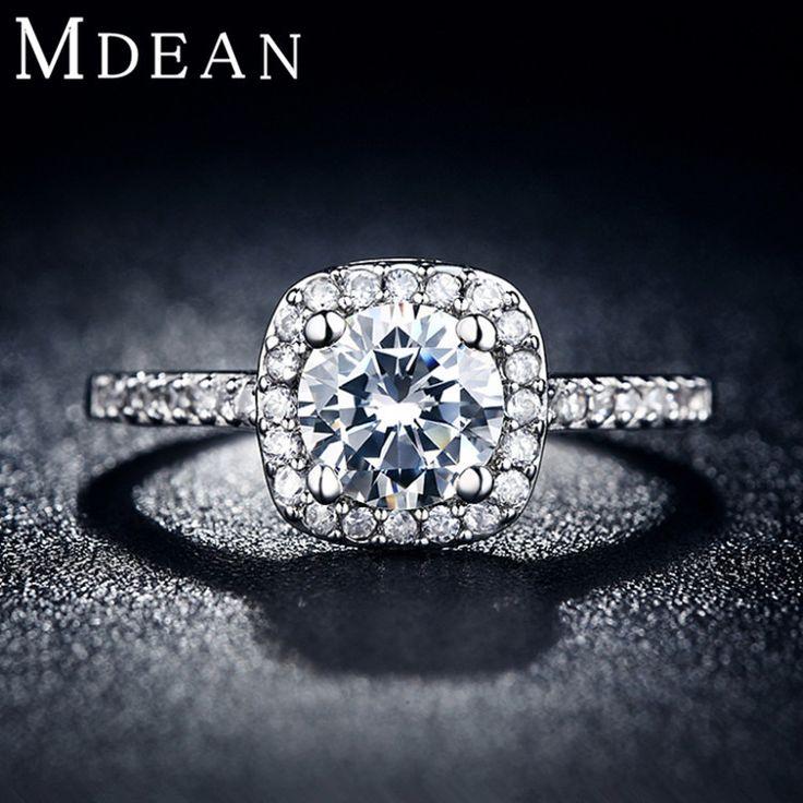 Barato Mdean anéis de casamento para mulheres platinadas anéis de jóias de luxo Engagement praça bague AAA zirconia acessórios bijouxMSR035, Compro Qualidade Anéis diretamente de fornecedores da China:                               Item  : Anéis de casamento de luxo p