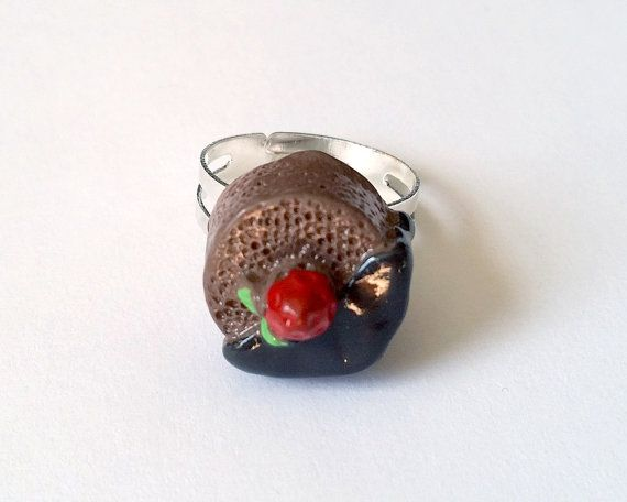 Chocolate Cake Adjustable Ring  Kawaii Ring Kawaii Jewelry