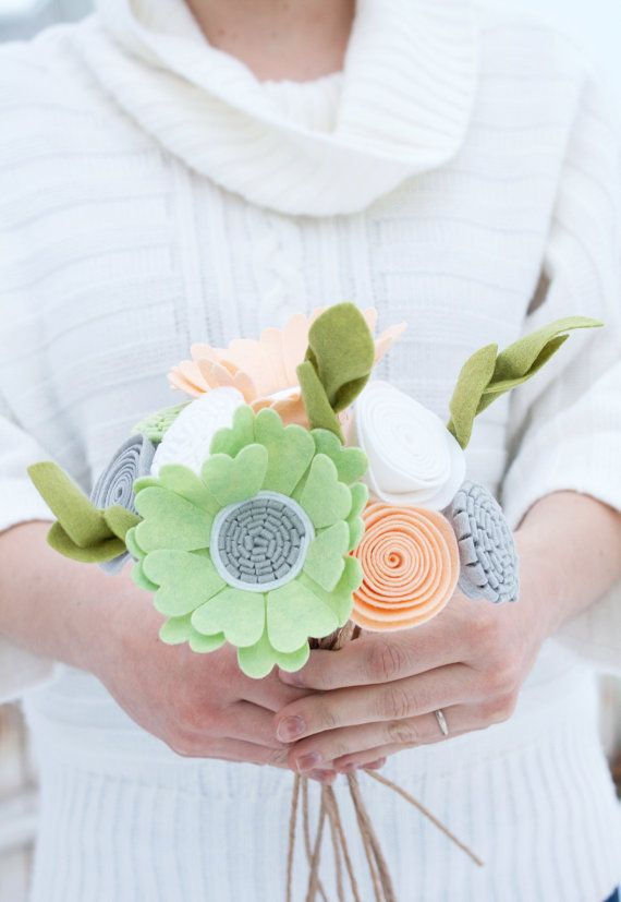 """Felt Floral Bouquet - """"Sweet Spring Air"""" - Flowers for the Home, Bridesmaid Bouquet"""