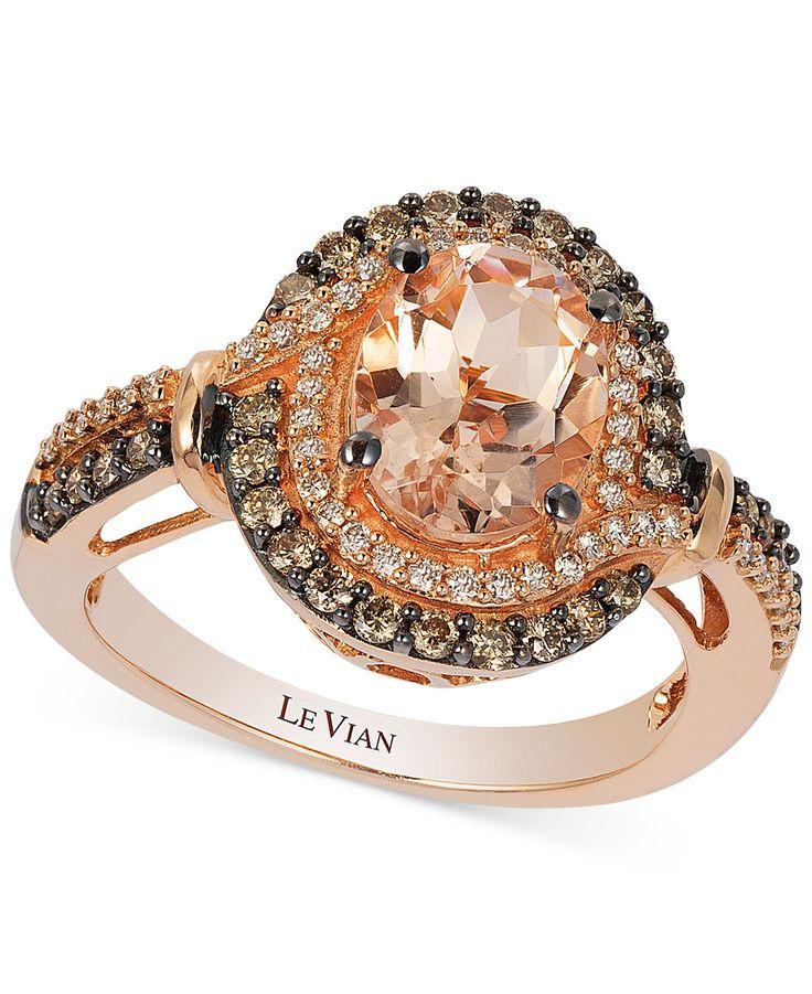 Le Vian Chocolatier® Peach Morganite™, Chocolate Diamonds® and Vanilla Diamonds® Ring in 14k Strawberry Gold® - Le Vian Shop - Jewelry & Watches - Macy's