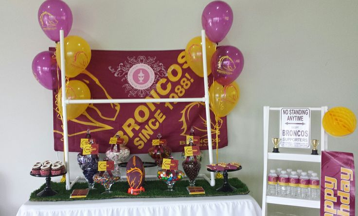 Brisbane Broncos Candy Buffet By Platinum Invitations & Candy Buffets