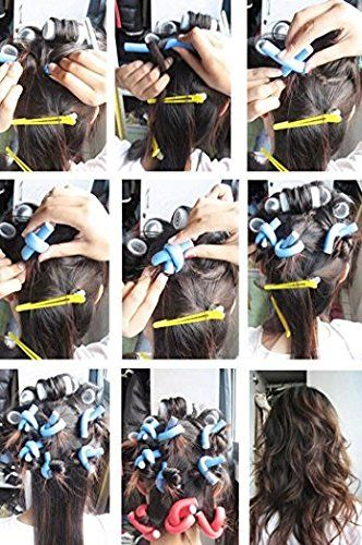 #OutOfBox 10 pieces self holding #HairCurling Flexi rods Magic Air #HairRoller Curler Bendy Magic #Styling #Hair Sticks #hair #pin