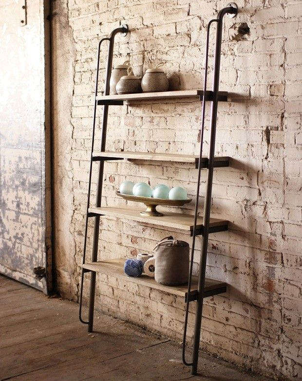 If I only had the space for this!  Wood and Metal Wall Shelving Unit (affiliate link)