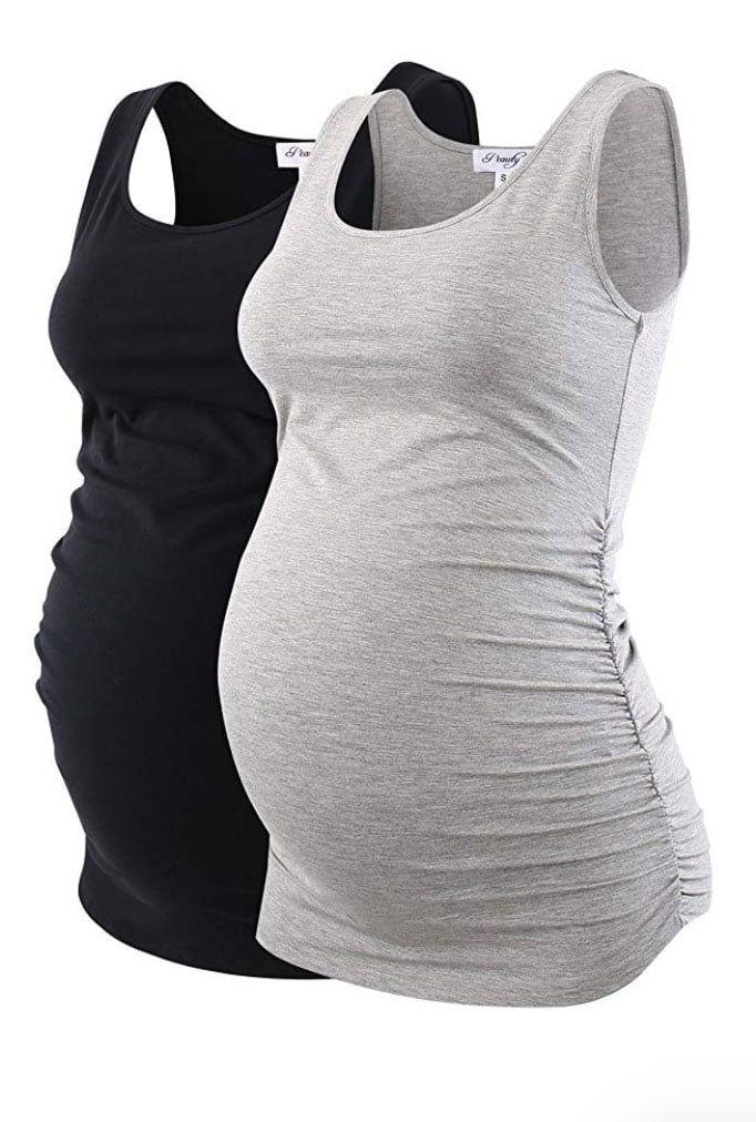 Ecavus Pack 3pcs Womens Layering Maternity Tank Top Pregnancy Shirt Scoop Neck Sleeveless Ruched Vest