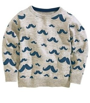 Grey Moustache Print Sweater