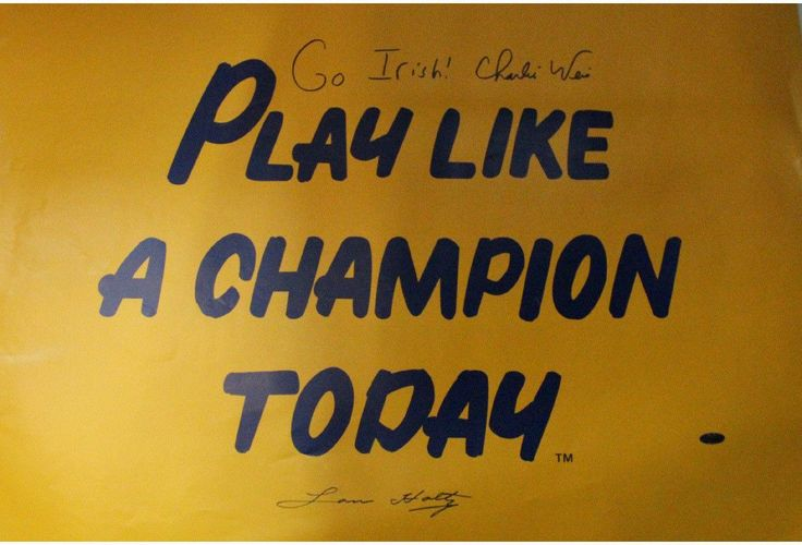 Lou Holtz / Charlie Weis 20x30 Play Like A Champion Poster w/ Go Irish Inscription by Weis