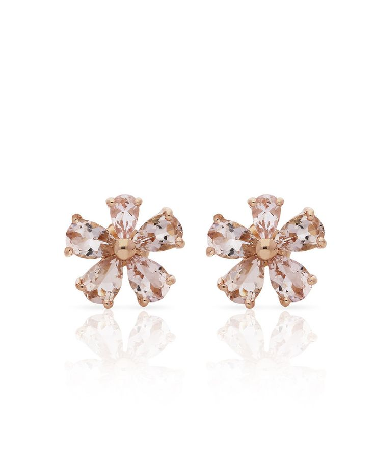 18 ct Rose gold and Morganite Love Me Daisy Stud Earrings, so pretty. By Jenna Clifford