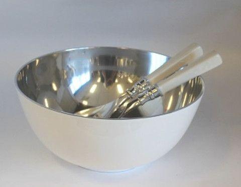 White Enamel Aluminium Salad Bowl 28cm