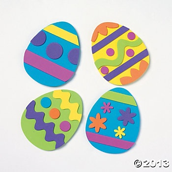 Easter egg craft idea-- this pic is actually from oriental trading co for a $4.75 kit, but we'll just make them from the foam sheets i have at home-- much cheaper!