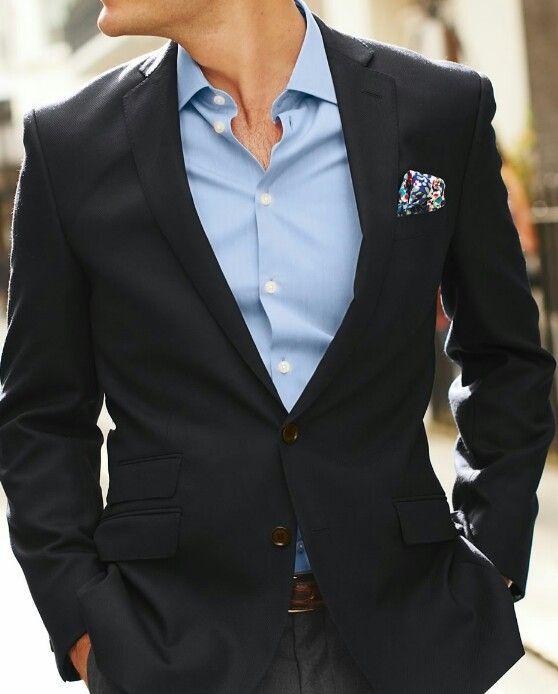 Shades of blue between the navy blazer and light blue shirt. Good stuff!