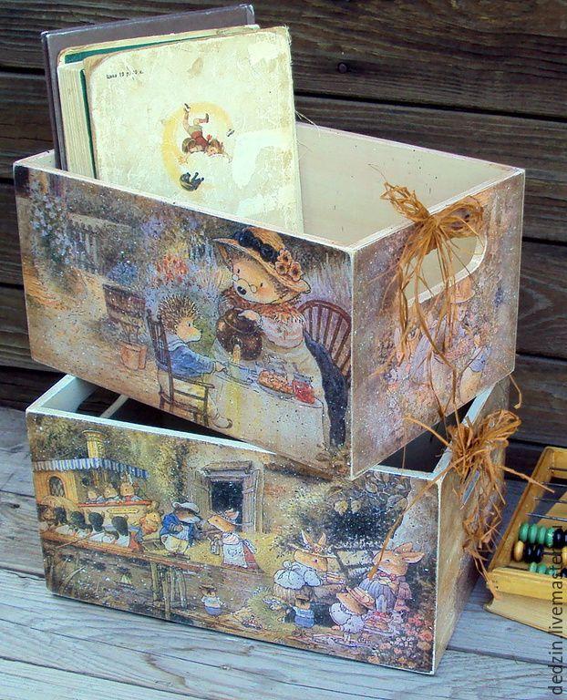 """Купить Короб для игрушек """"А в Лисьем Лесу уже лето..."""" - разноцветный, коробка для хранения"""
