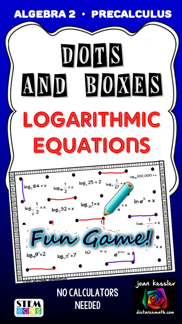 Logarithmic Equations Dots and Boxes Fun Game Secondary
