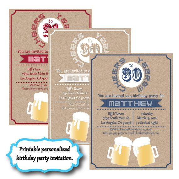 cheers to 30 years beer themed guy man male birthday party invitation, invite, bachelor party. Only $13.50! Custom!