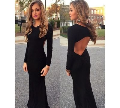 Long Sleeve prom dress,Backless prom dress,elegant prom dress,cheap prom dress,party Prom Dresses,evening Dresses,153637