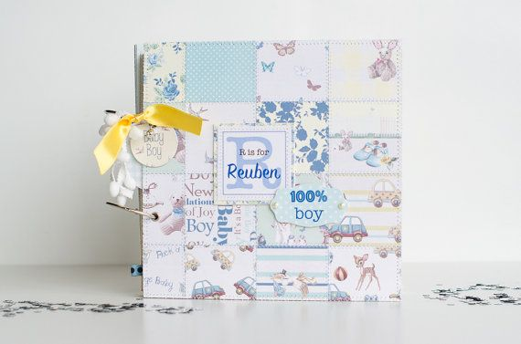 Personalised Baby Boy Scrapbook Album Baby by VioletCloudlet