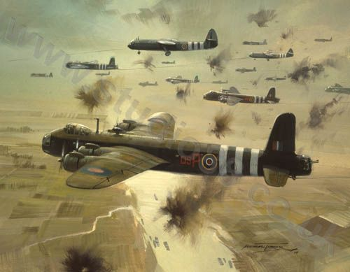 """Aviation and Transport Art """"Short Stirlings"""" - 602 Squadron Short Stirling glider tugs crossing the Rhine moments before releasing the 6th Airborne Division in their Horsa gliders"""