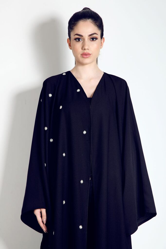 For just £89 you could own this stunning panelled half embellished abaya. Available from our website.