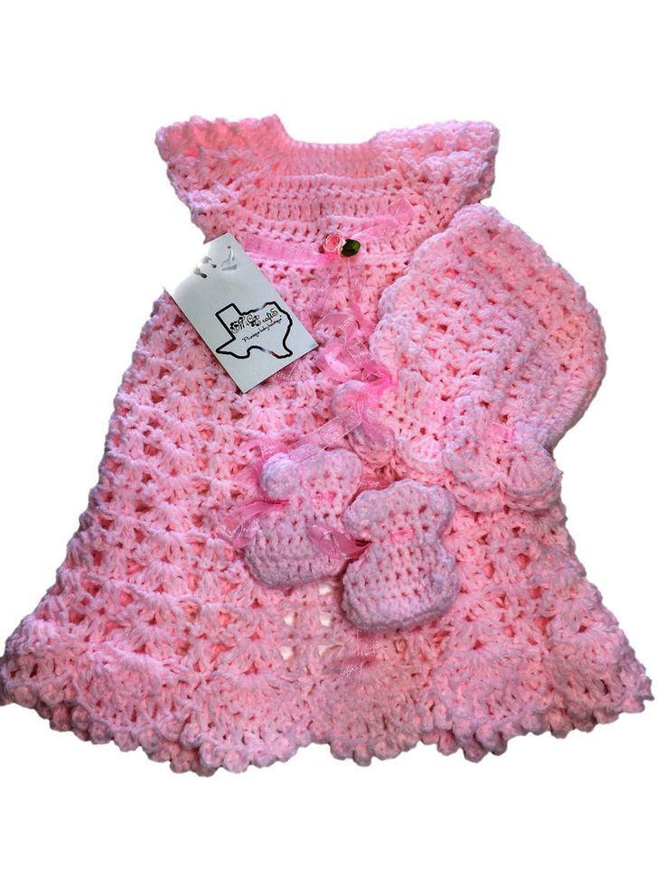 MiC Crafts Handmade Crochet Micro Preemie Gown Bonnet and Shoes Baby Pink  | eBay