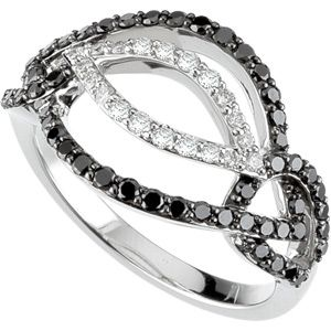 3/4 ct.tw. Black and White Diamond Ring in 14k White Gold. It looks great with a little black dress...