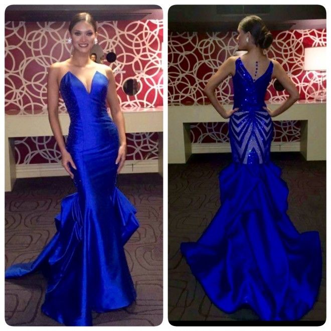 Pia Wurztbach's Form-fitting Blue Serpentina Gown And Its