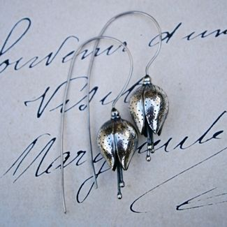 Handmade sterling silver flower earrings by Susan Roos