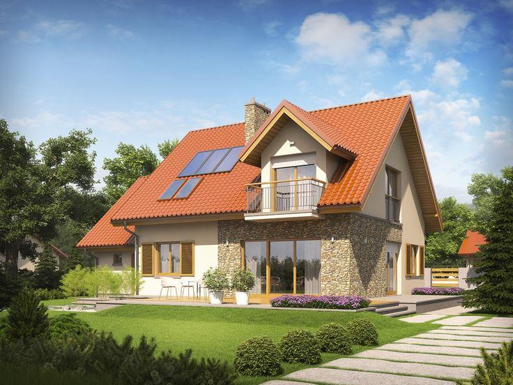 Stylistyka domu nawiązuje do klimatu smakowitej elegancji - gustowny chłód kamienia, w połączeniu z surową urodą bieli, dla kontrastu zestawiono z elementami drewna, m.in. dekoracyjnymi okiennicami, które nadają całości ciepły, przytulny ton.