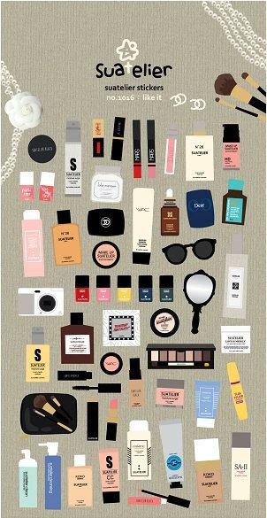 Kawaii Make Up Stickers | Scrapbook | Erin Condren Planner Stickers | Make Up Stickers | Kawaii | Chanel Sticker | Scrapbook Sticker| K39.15