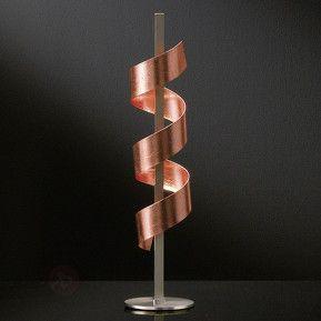 Tischleuchte LED Spirale dimmbar nickelmatt-kupfer
