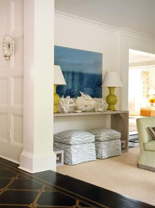 Love: Idea, Living Rooms, Color, Consoles Tables, Beaches Houses, Ottomans, Extra Seats, Paintings Floors, Stools