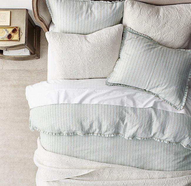 Vintage Washed Linen Cotton Stripe Duvet Cover Maison