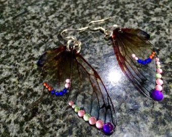 Artículos similares a Las mariposas todos sobre Organza pendientes de turquesa y marrón par en Etsy