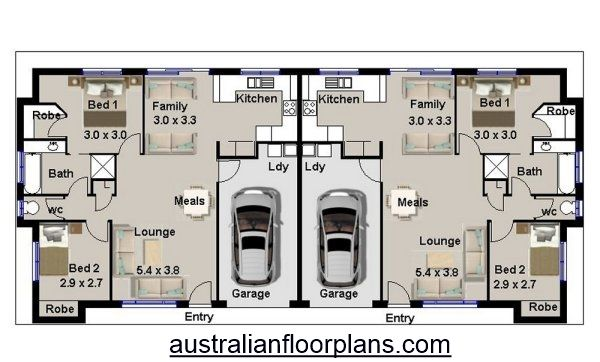 4 Bedroom Duplex House Plan 190du Duplex House Plans House Plans Australia Duplex Floor Plans