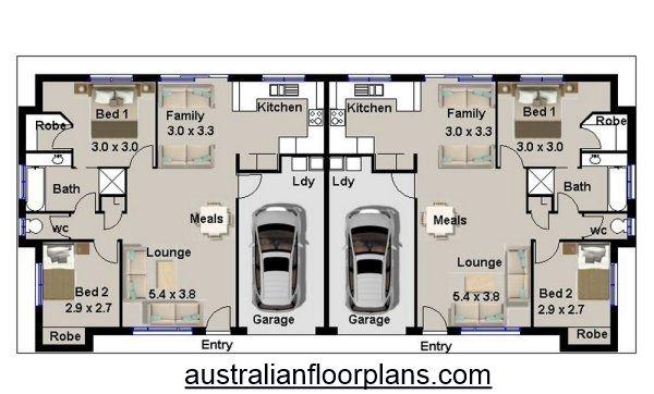 4 Bedroom Duplex House Plan 190du With Images Duplex House Plans Duplex House House Plans Australia