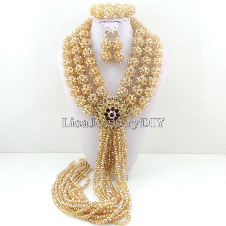Nigerian Wedding Bridal Indian Beads Jewelry Set African Beads Crystal Beads Balls Jewelry Sets HD3746