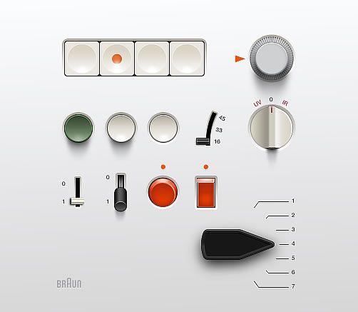 Conjunto de elementos de las interfaces de productos Braun