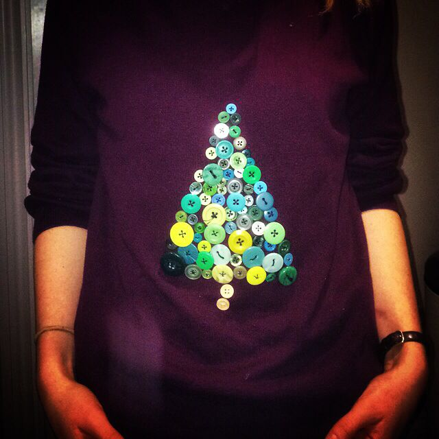 Diy Christmas jumper from old jumper and buttons