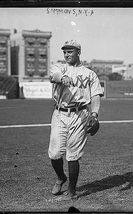 January 29, 1885 – April 26, 1942: George Washington 'Hack' Simmons: 1B,2B,OF 1906-15,1917,1933//      Detroit Tigers (1910)     New York Highlanders (1912)     Baltimore Terrapins (1914–1915)// He compiled a career batting average of .246 with 234 hits, 115 runs scored, 102 RBIs, 85 walks, 43 doubles, 28 stolen bases, nine triples, and two home runs.