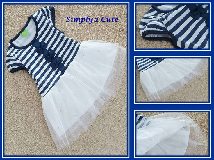 'TINA' - the perfect summer dress! Striped navy blue and white bodice with bows, white tutu skirt with seed pearls for a little extra bling! Sizes 2-6 years. To purchase: http://simply2cute.tictail.com/product/tina