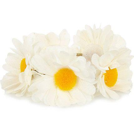 White daisy bun top hair tie £5.00