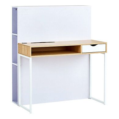 d7554869902cc Une décoration nordique et pratique pour un bureau. Bureau console USB  KUTAWA Chêne et blanc