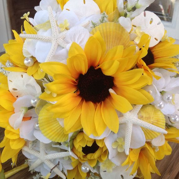 Beach Wedding Flower Ideas: Sunflower Beach Wedding Bouquet With White Hydrangea