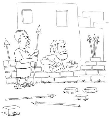 Nehemiah Wall Coloring Page Sunday