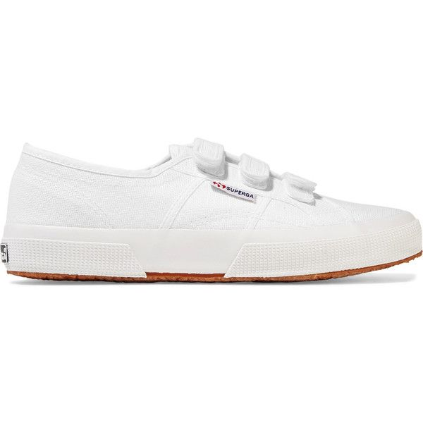 Superga - Canvas Sneakers (30.155 CLP) ❤ liked on Polyvore featuring shoes, sneakers, white, rubber sole shoes, white sneakers, white canvas sneakers, white canvas shoes and canvas shoes
