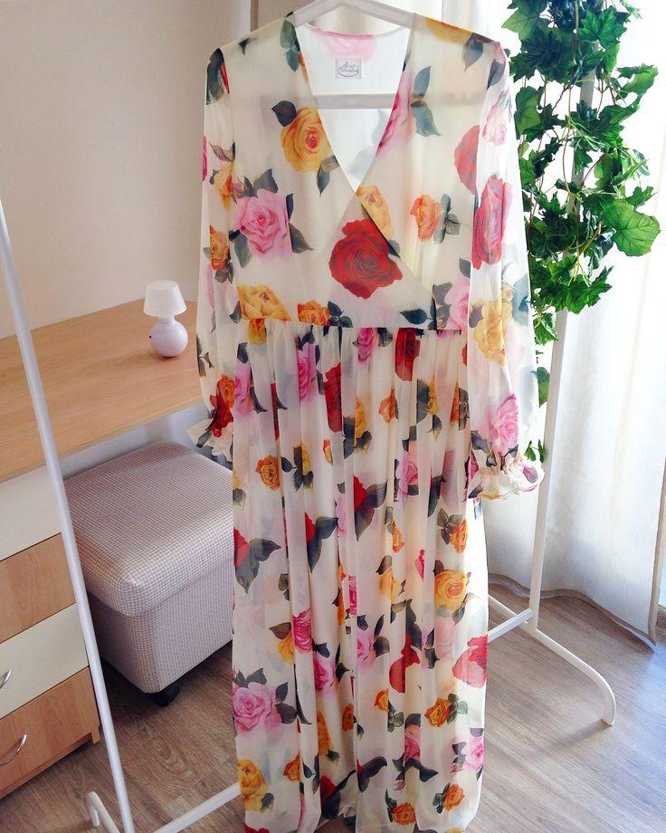 #dress Платье с имитацией запаха. Шифон. Принт Розы  в стиле Dolce & Gabbana