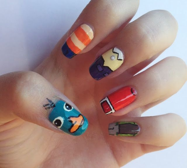 Aug 7: Day 3 Character Nails  Phineas, Ferb, Candace, Jeremy and Perry the platypus