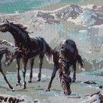 Horse in beautiful snowy landscape tapestry | Fleur Susannah