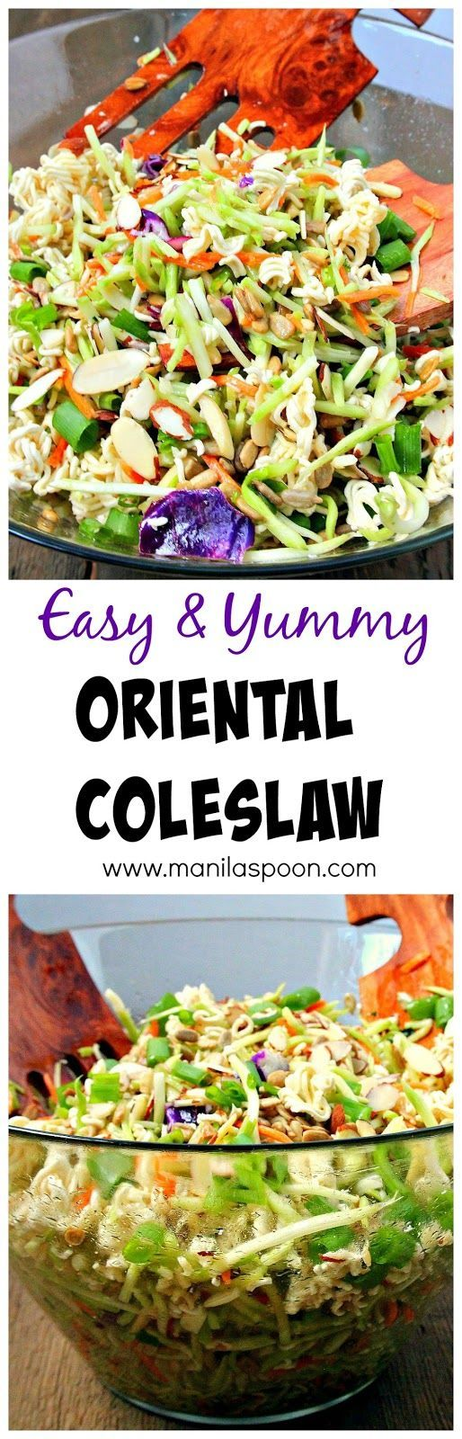 Very easy and tasty salad to make! Perfect for picnics and potlucks, or any gathering - Oriental (Asian) Coleslaw.