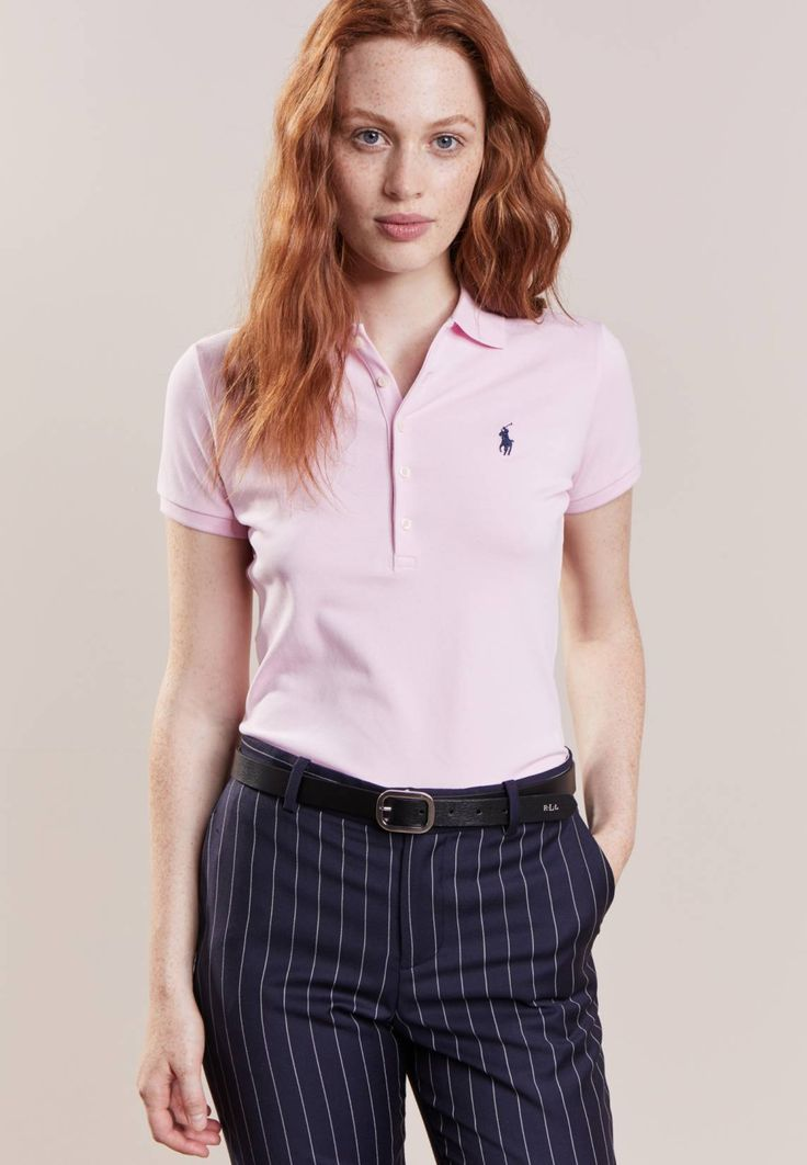 """Polo Ralph Lauren. JULIE SKINNY FIT - Polo shirt - country club pink/navy. Our model's height:Our model is 69.5 """" tall and is wearing size S. Fit:regular. Outer fabric material:97% cotton, 3% spandex. Pattern:plain. Care instructions:machine wash at 30°C. Length:normal. S..."""